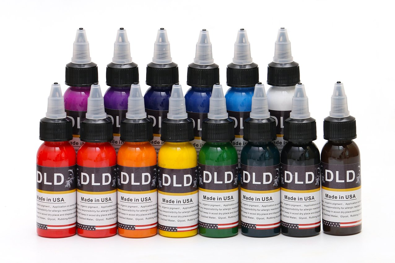 DLD 14Pcs Tattoo Ink 14 Colors Set 1 oz 30ml//Bottle Tattoo Inks Pigment Kit for 3D Makeup Beauty Skin Body Art USA-DLD
