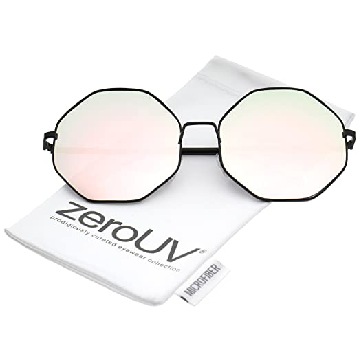 f2453082e8ce5 Oversize Metal Frame Slim Temple Pink Mirror Lens Hexagon Sunglasses 63mm  (Black Pink Mirror