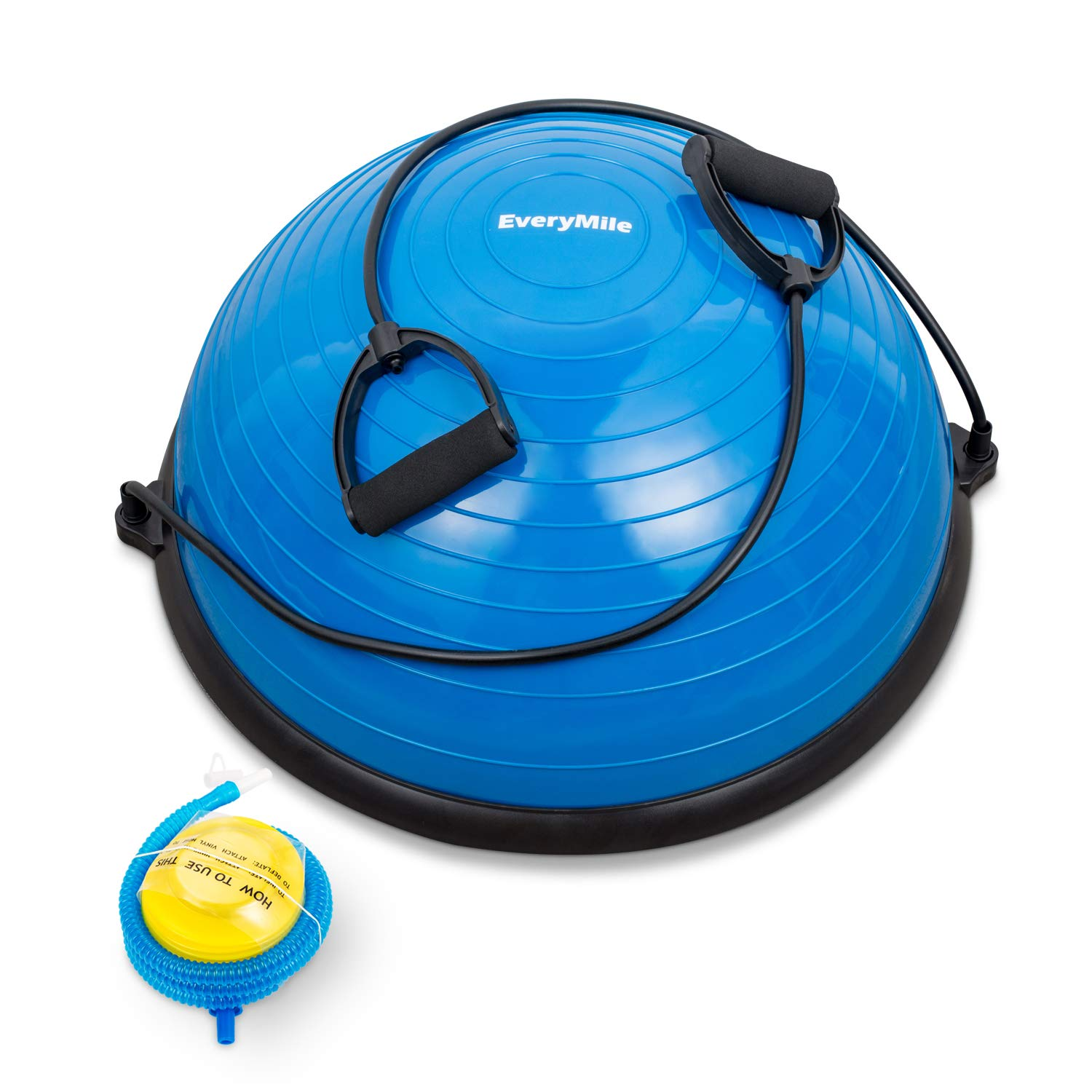 EveryMile Half Ball Balance Trainer Stability Yoga Exercise Ball with Resistance Bands & Pump for Home Gym Core Training Yoga Fitness Ab Strength Workouts, 23 inch Anti-Skid Surface (Blue)