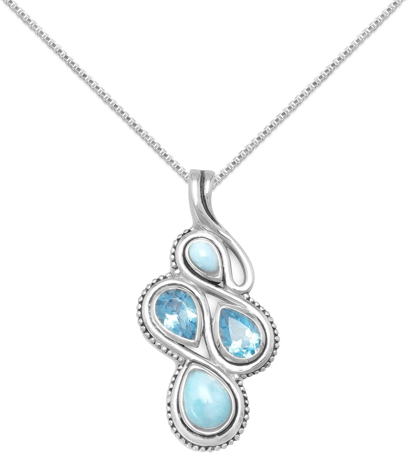 Precious Stars Jewelry Sterling Silver Round-Shape Blue Larimar Pendant with 1.5mm Box Chain
