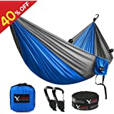 "Double Camping Hammock, KAMOTA Outfitters Lightweight Nylon Portable Hammock Best Parachute Double Hammock For Backpacking Camping Travel Beach Yard 118""(L) x 78""(W)"