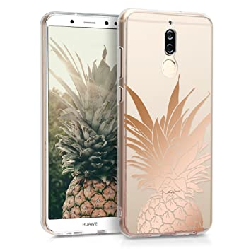kwmobile Funda compatible con Huawei Mate 10 Lite - Carcasa de [TPU] con diseño Mata de piña en [oro rosa / transparente]
