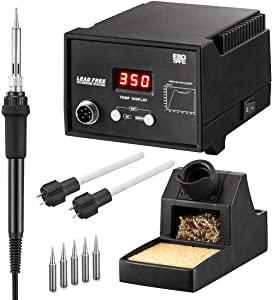 Soldering Iron Station With Soldering Stand, Tip Cleaning Wire Sponge, Two Heater And Four Replacement Tips, White