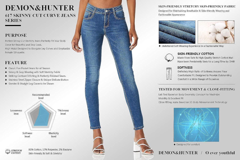 Demon&Hunter 812 Skinny Series Mujer Pantalones Vaqueros Pitillos Elevar Curva Jeans