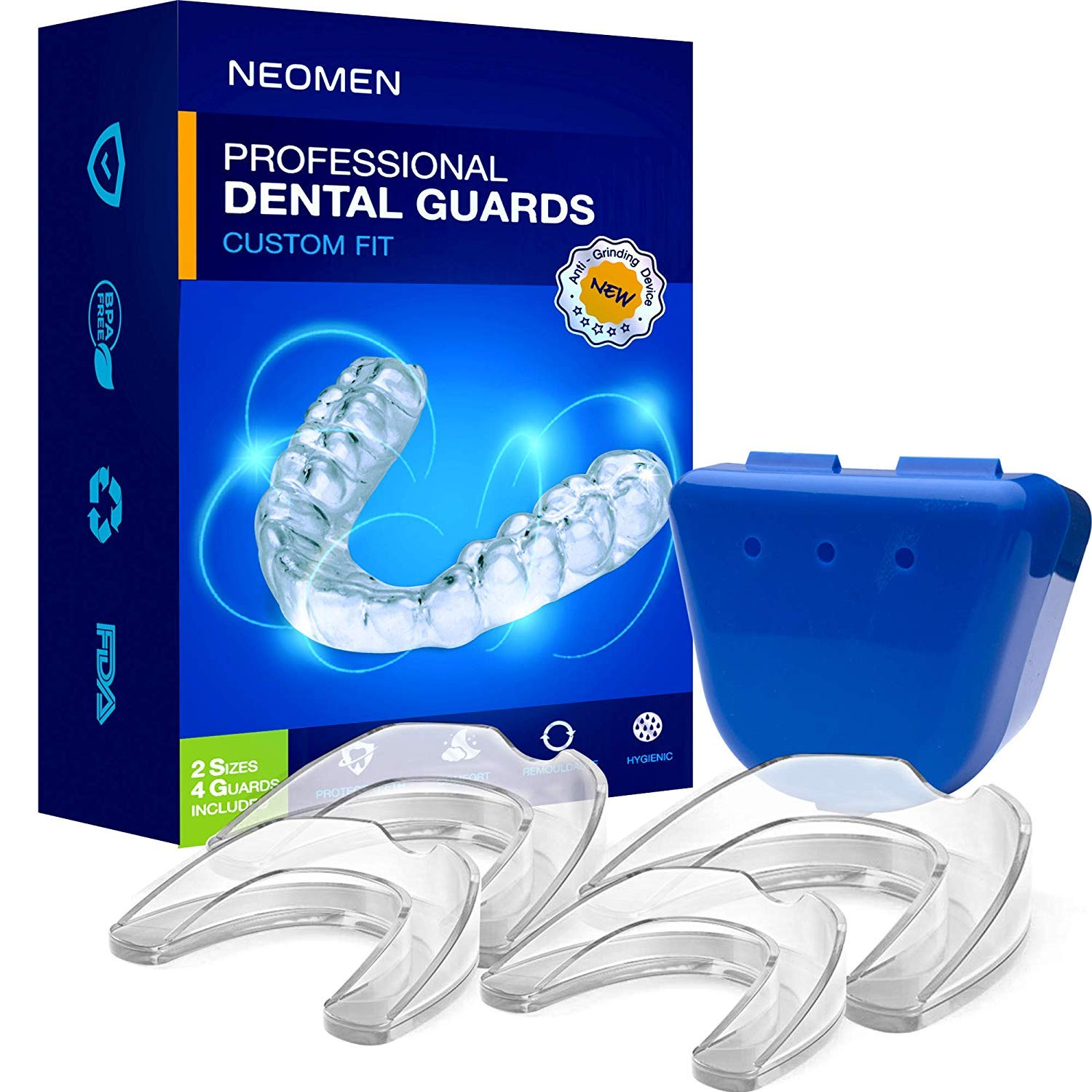 Neomen Professional Dental Guard - 2 Sizes, Pack of 4 - Upgraded Mouth Guard For Teeth Grinding, Anti Grinding Dental Night Guard, Stops Bruxism, Tmj & Eliminates Teeth Clenching, 100% Satisfaction 71v7WPVMRkL