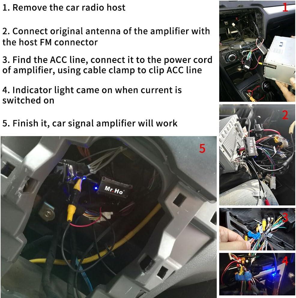 Mr. Ho Antena Radio Amplificador Coche AM/FM Antena Señal Amperio Automóvil para todo el coche