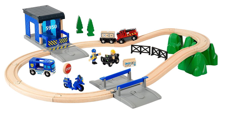 Brio Ferrocarril de Madera World 33845, Gran Set de policía Deluxe