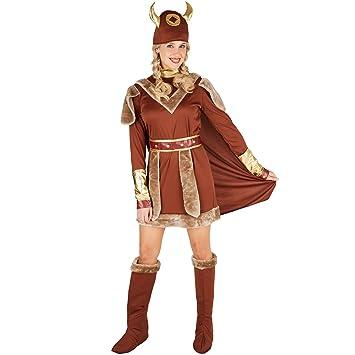 dressforfun Disfraz para mujer Vikinga | Precioso vestido con capa | incl. Cinturón + gorro