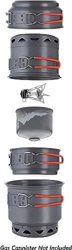 Mons Peak IX Trail 123 High Efficiency Ultralight Cook Set with 10,200 BTU High Performance Breeze Resistant Stove
