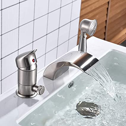 Roman Tub Faucet With Hand Shower 3 Hole.Senlesen Brushed Nickel Single Handle 3 Hole Waterfall Roman Tub Filler Faucet With Hand Shower