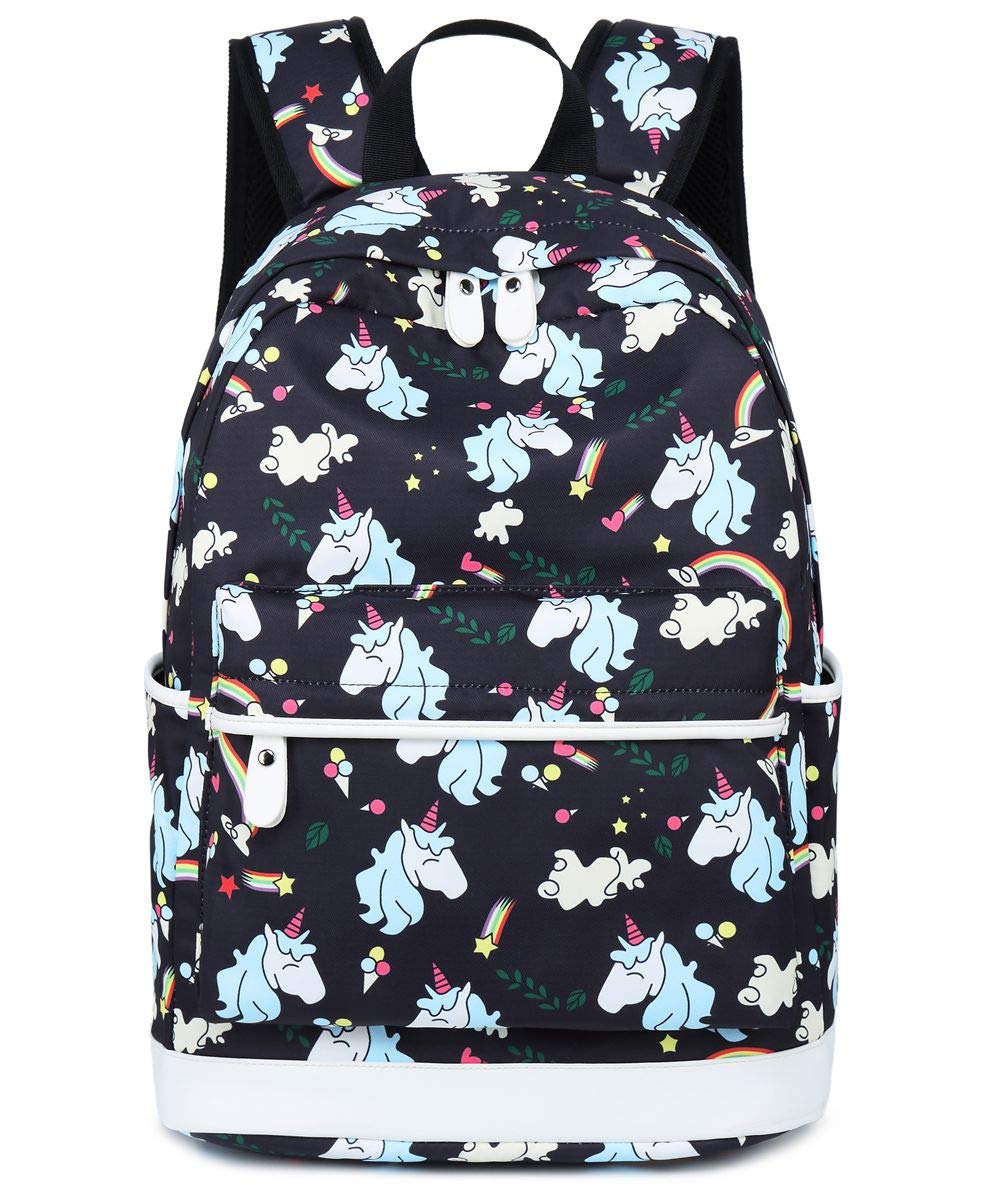 School Backpack for Girls Student Bookbags Laptop Rucksack School Bags with Shoulder Bag Travel Casual Daypack Teen Black