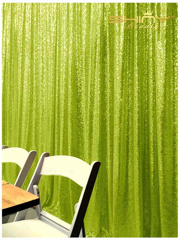 ShinyBeauty スパンコール背景カーテン 20フィートx10フィート グリッターライムグリーンカーテン ライムグリーン スパンコール写真背景布 Y1121 B07KR18122