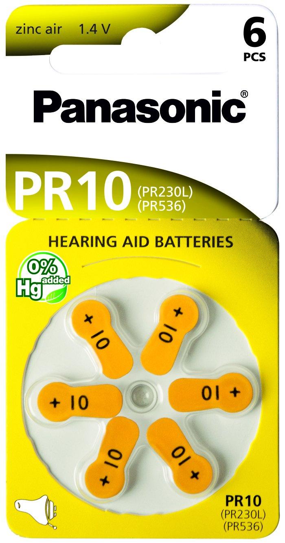 6 X Knopfzelle Zink-luft Panasonic Pr10 Pr536 Pr230l Hörgeräte-zellen Blister Hilfsmittel Hörhilfen