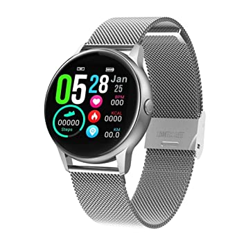 Adminitto88 Smart Watch, Smartwatch With Heart Rate Monitor Steel Silver