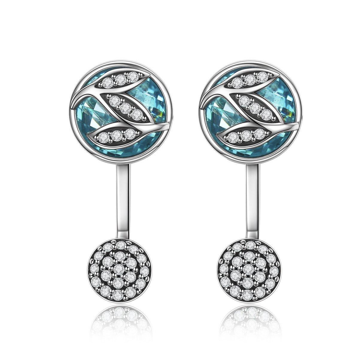 Vogzone Sterling Silver Cubic Zirconia Rear Hanging Ear Jacket Earrings Back Ear Cuffs Stud Earring Sets for Women Girls