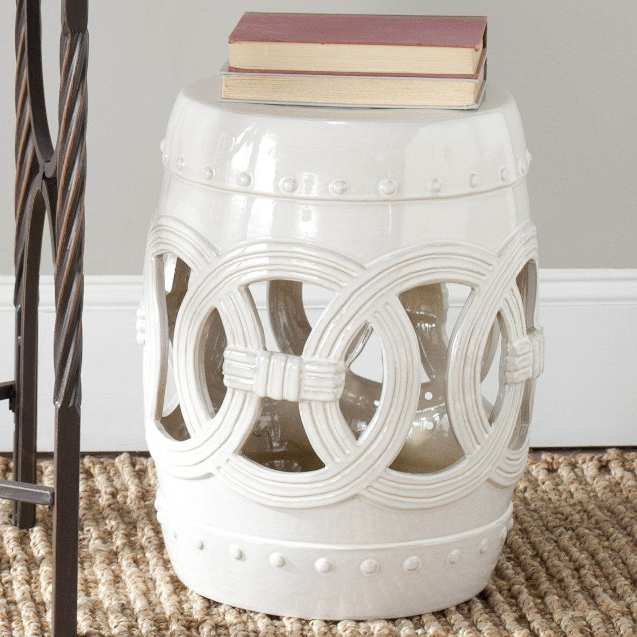 Safavieh Castle Gardens Collection Double Coin White Ceramic Garden Stool by Safavieh (Image #3)