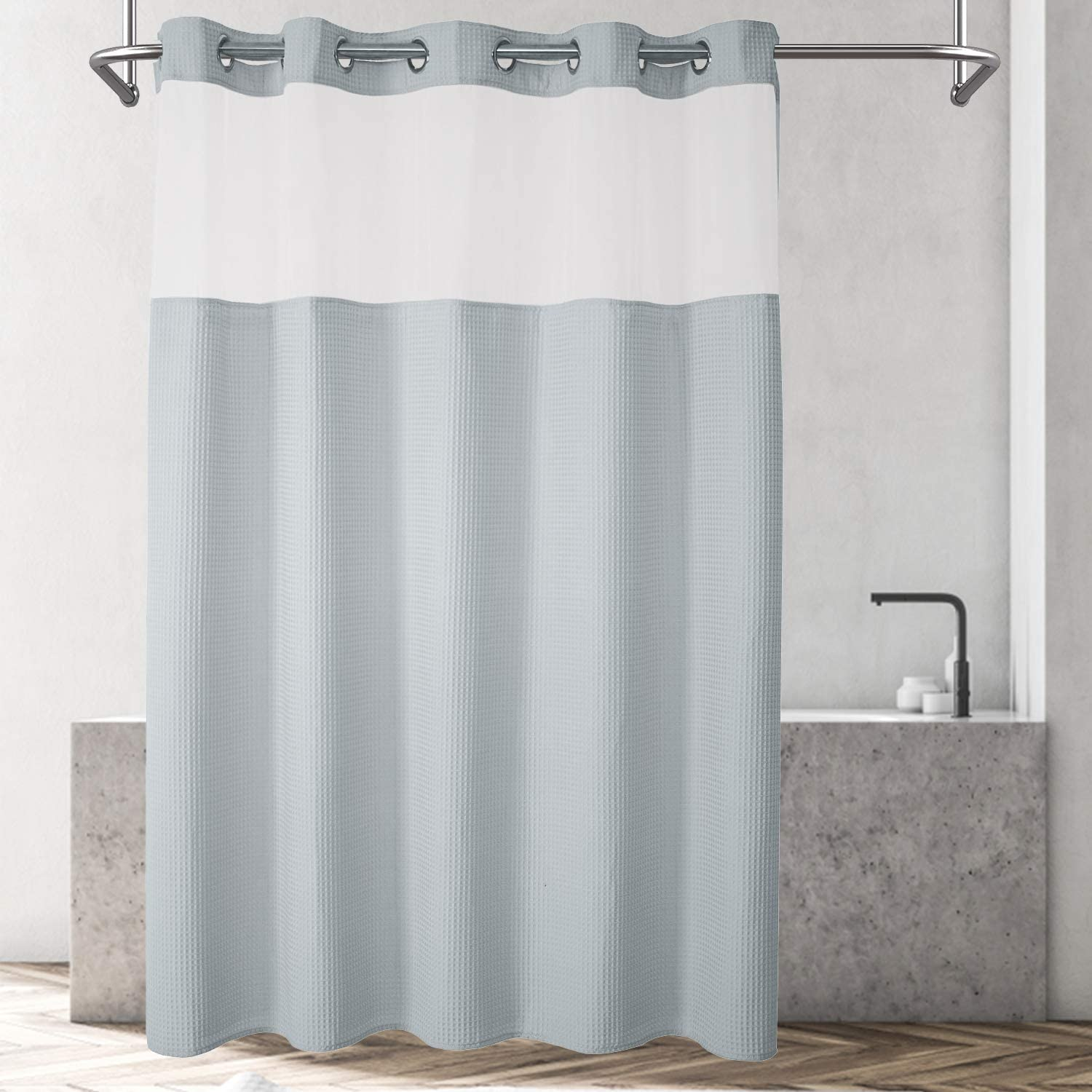 River Dream Waffle Weave Fabric Shower Curtain No Hooks Needed, Cotton Blend, with Snap-in Repalcement Liner - Hotel Grade, Water Repellent, Machine Washable - 71x74, Lake Wanaka