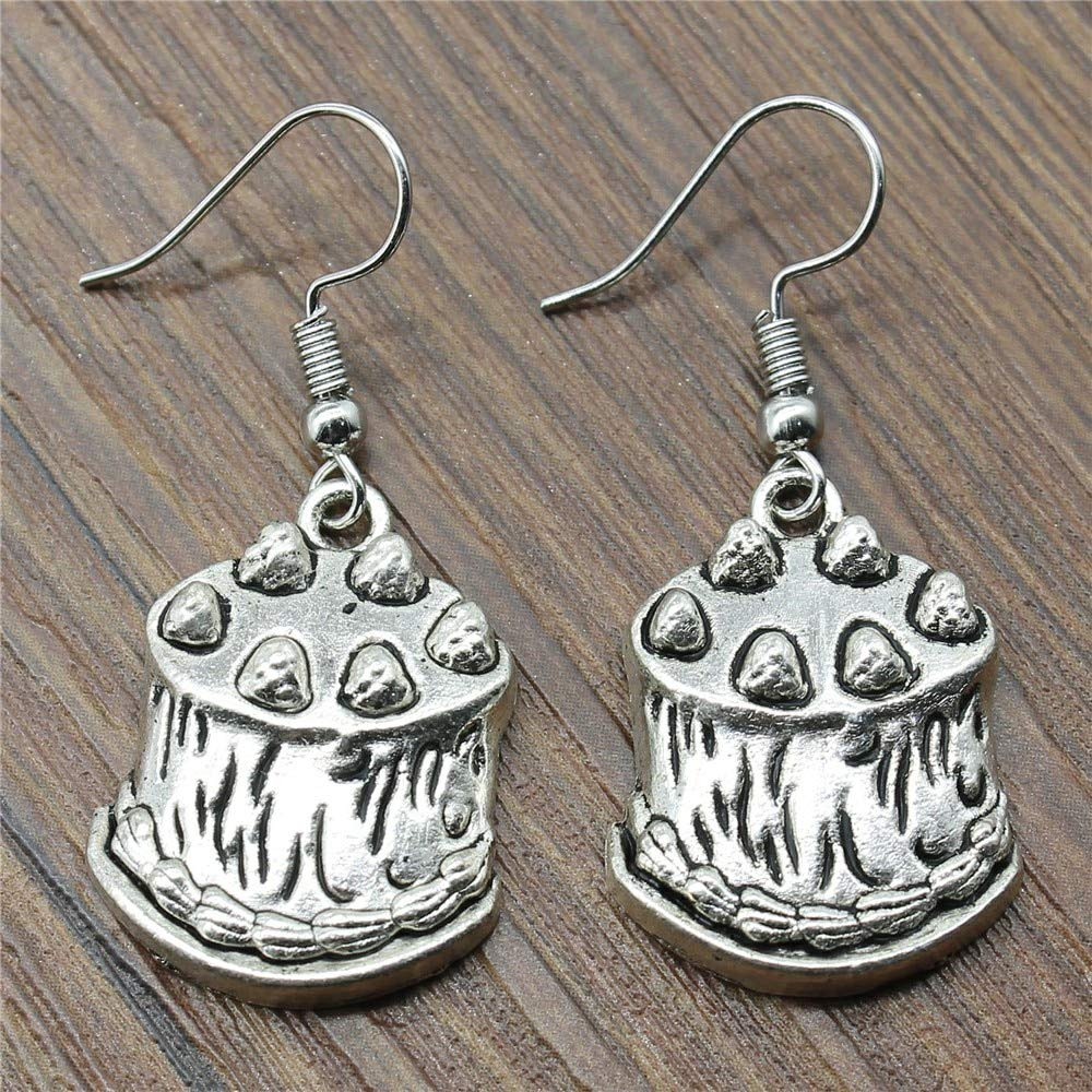 WYSIWYG 3 Pairs Drop Earrings Jewelry Earrings Findings Birthday Cake 24x18mm with Earring Backs Stopper