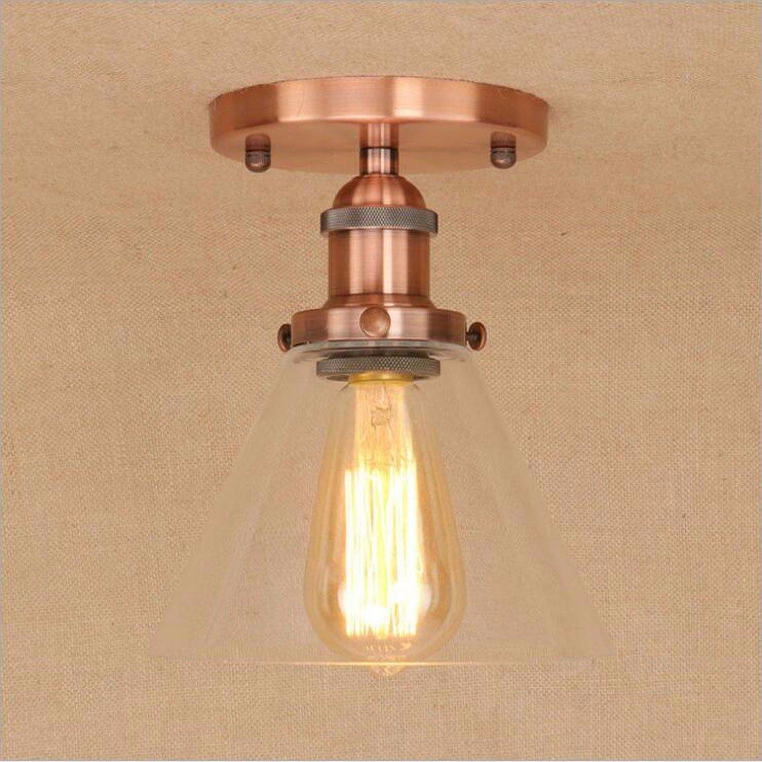 F  SSBY personnalité simple restaurant salon plafond de verre transparent lampes rétro nostalgique plafond plafond décoratif feu simple feu de fer métalliquef