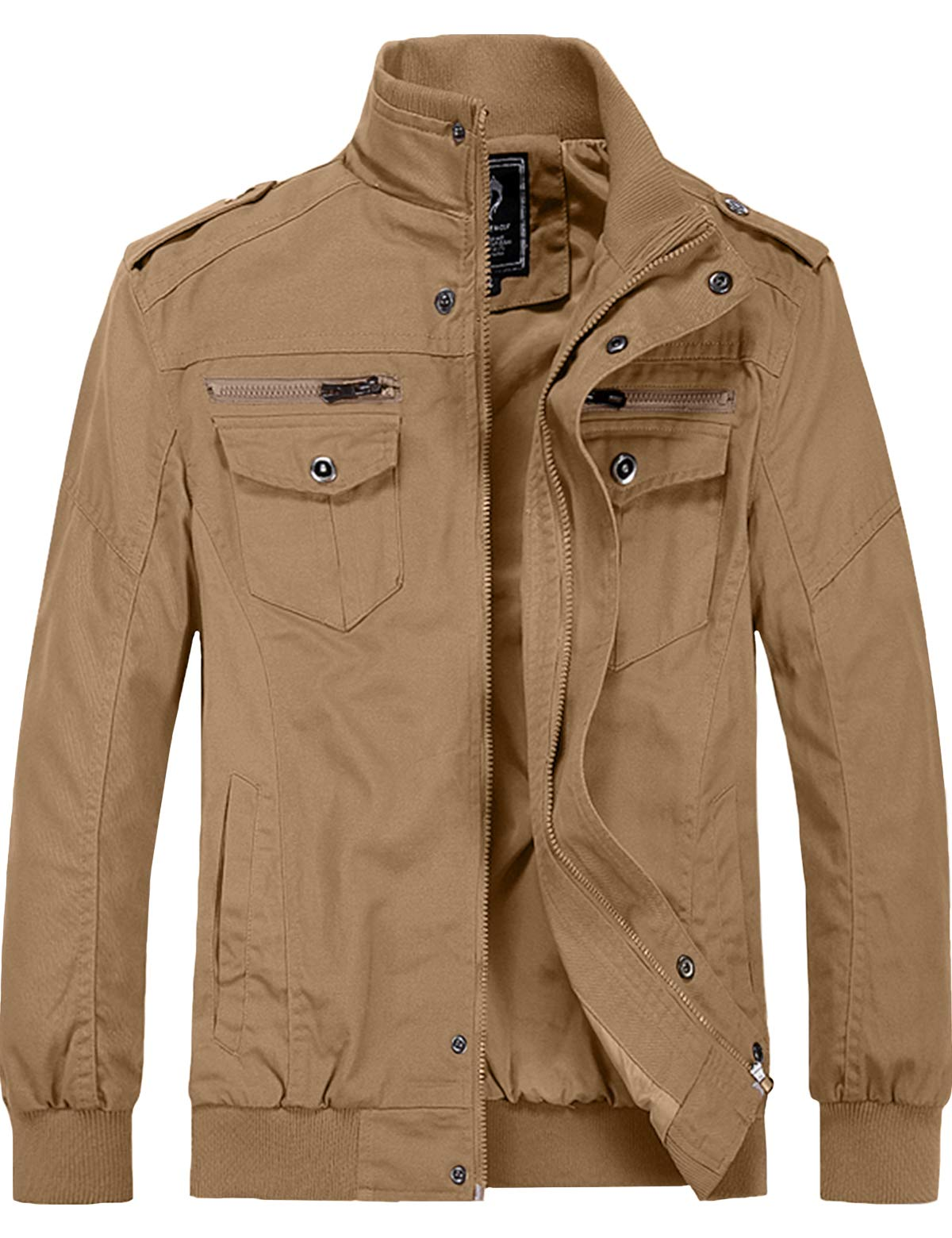 YXP Men's Casual Cotton Military Jacket Fall Lightweight Outwear Coat(Khaki,L) by YXP