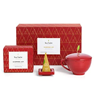 Tea Forte Warming Joy Gift Set with Cafe Cup, Tea Tray and 10 Handcrafted Pyramid Tea Infuser Bags