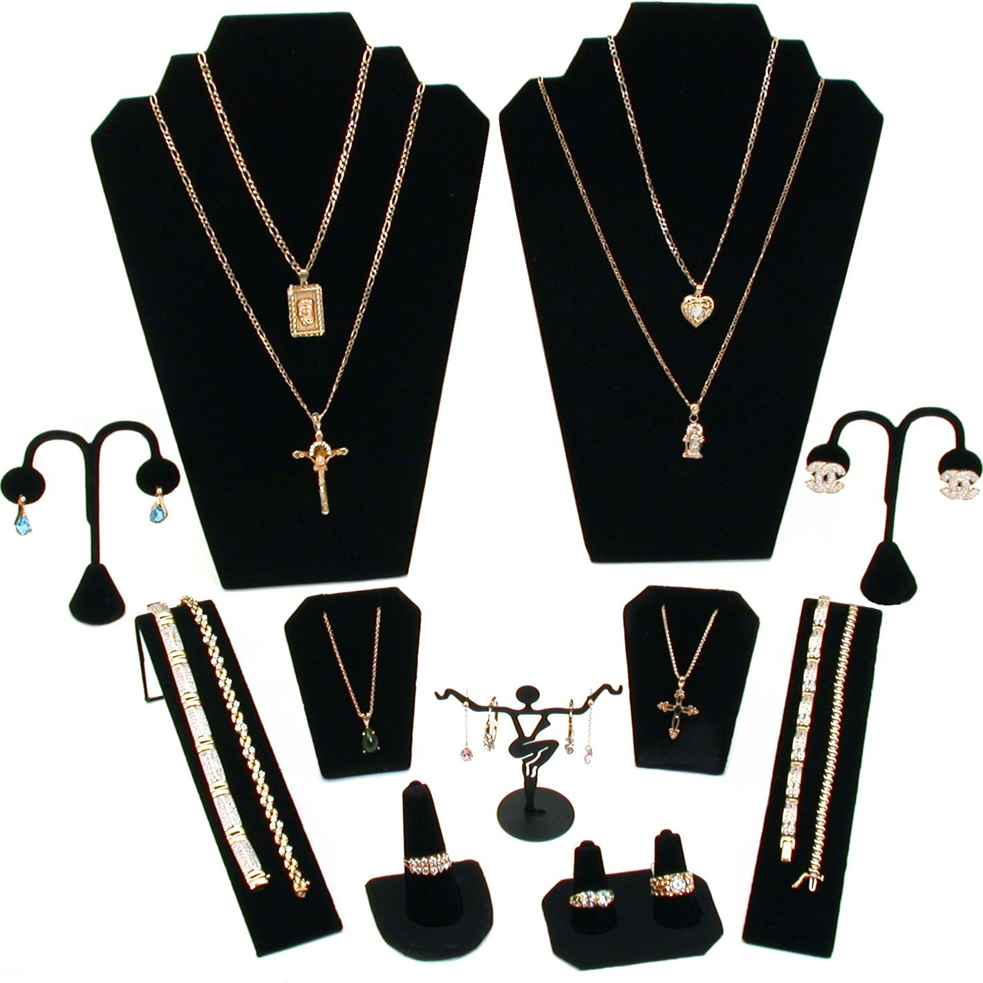 11 Pc Set Black Velvet Jewelry Displays Busts Bonus New FindingKing KIT-10370