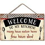 Welcome to My Kitchen Decorative Wood Wall Plaque with Braided Rope for Hanging