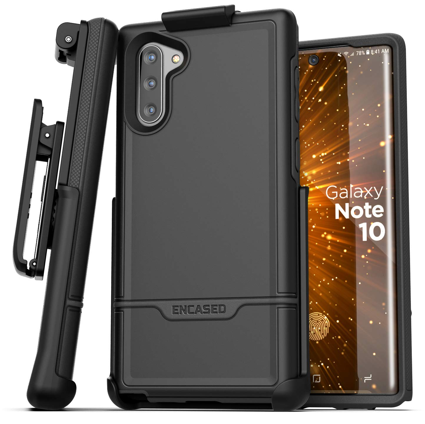 Encased Galaxy Note 10 Belt Clip Protective Holster Case (2019 Rebel Armor) Heavy Duty Rugged Full Body Cover w/Holder for Samsung Note 10 (Black) by Encased