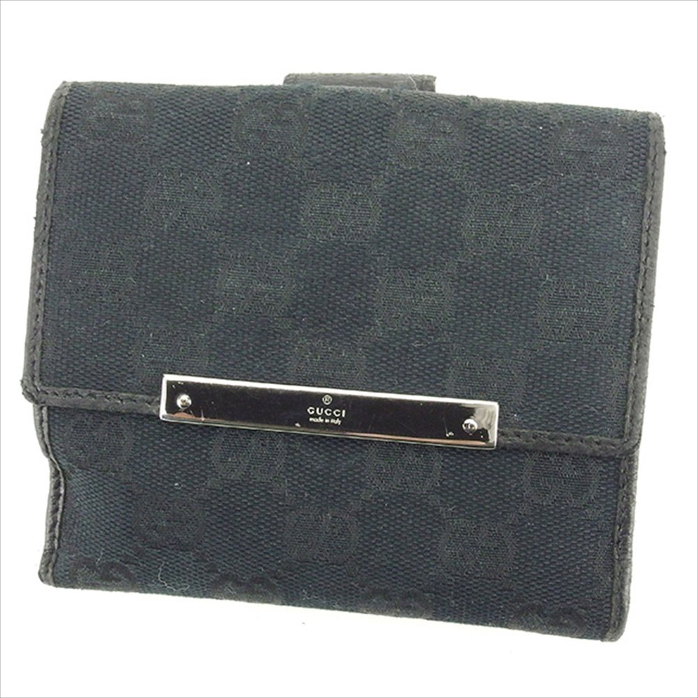 (グッチ) Gucci Wホック財布 財布 二つ折り財布 ブラック×シルバー GGキャンバス レディース メンズ 可 中古 T1826   B0772S8GV4
