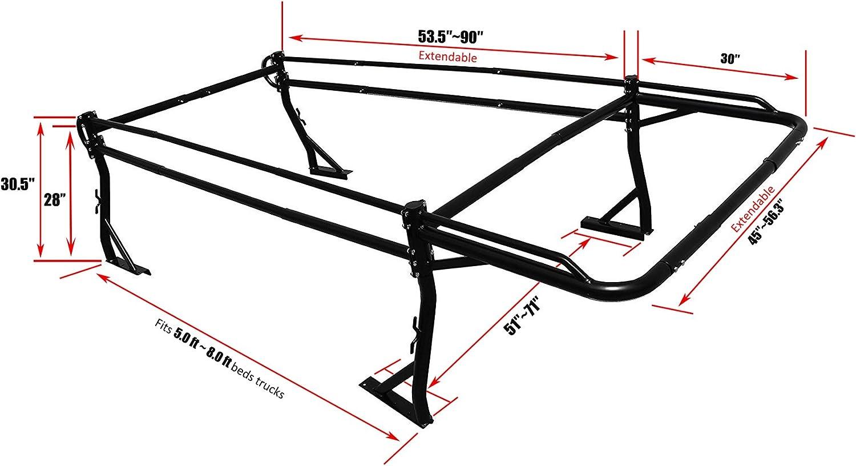 AA-Racks Model X39 Full-size Truck Ladder Rack Side Bar with Short Cab Ext.-Matte Black