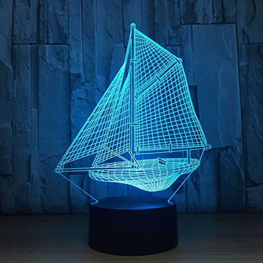 BFMBCHDJ Novedad 3D Velero Luces nocturnas Lamparas LED Touch Desk Lámpara de mesa 7 colores que cambian USB Desk Light Kid Gift Toy Luminaria: Amazon.es: Iluminación