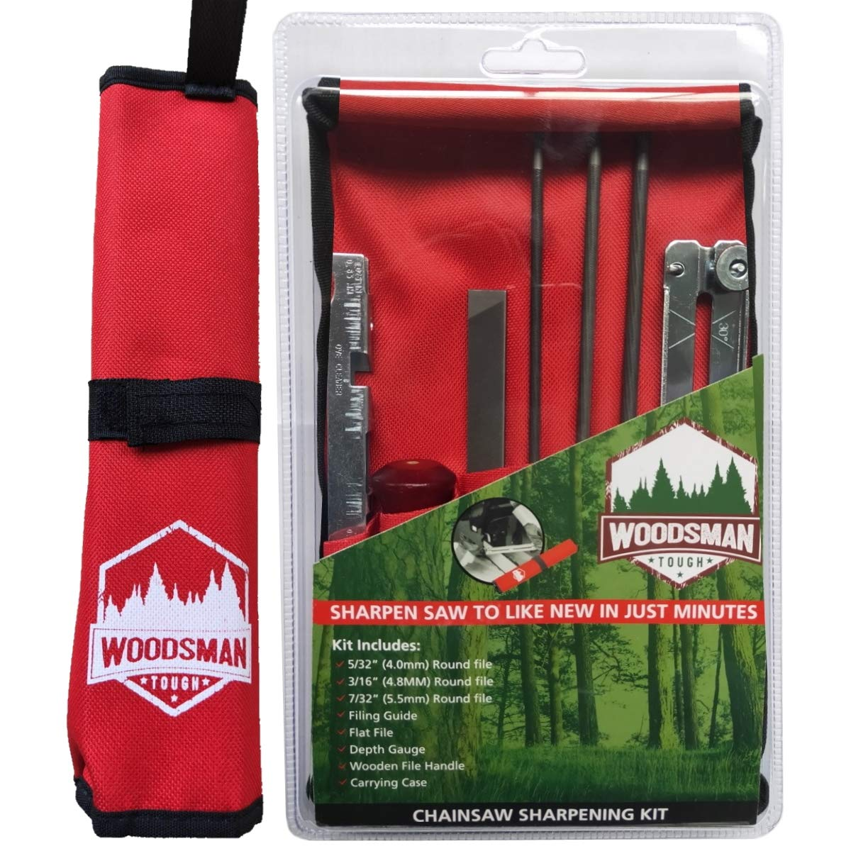 Chainsaw Sharpener File Kit - Includes Flat, 5/32, 3/16, 7/32 Inch Round Files, Depth Gauge Tool, Filing Guide, Wood Handle & Bright Red Pouch - for Sharpening Chain Saw Blades - 8 Piece Combo Set by Woodsman Tough