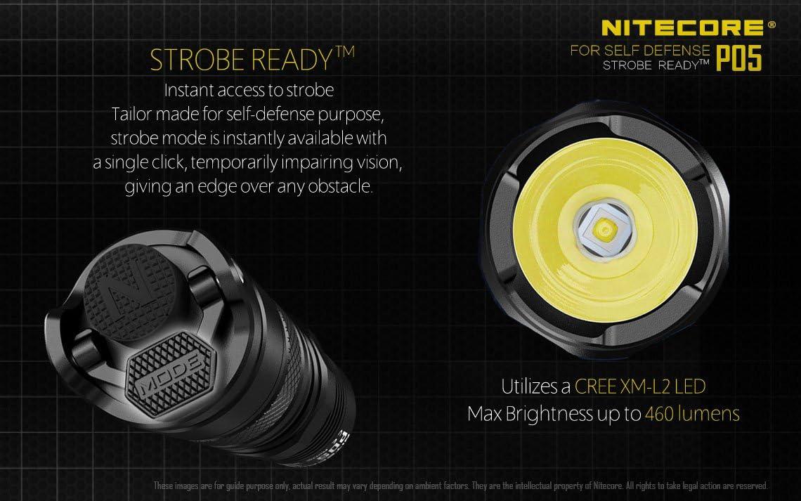 Nitecore P05 DEL 460 LM auto-défense lampe de poche avec instantanée Strobe-Rose
