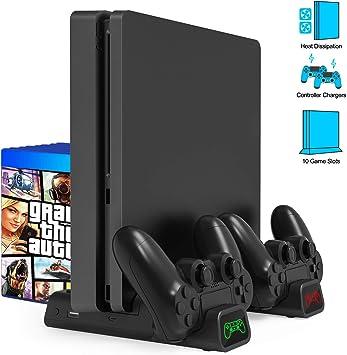 Gifort Soporte Vertical con Ventilador de Refrigeración para PS4/PS4 Pro/PS4 Slim, Base PS4 con 2 Ventiladores Refrigeración, Cargador Controlador PS4 y 10pcs Almacenamiento de Discos: Amazon.es: Electrónica