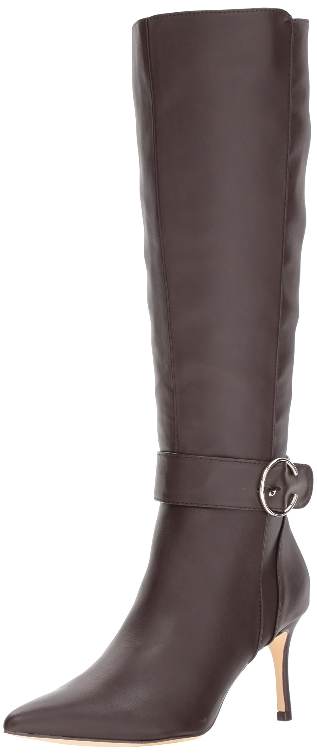 Nine West Women's Moretalkn Synthetic Knee High Boot, Dark Natural Synthetic, 12 Medium US