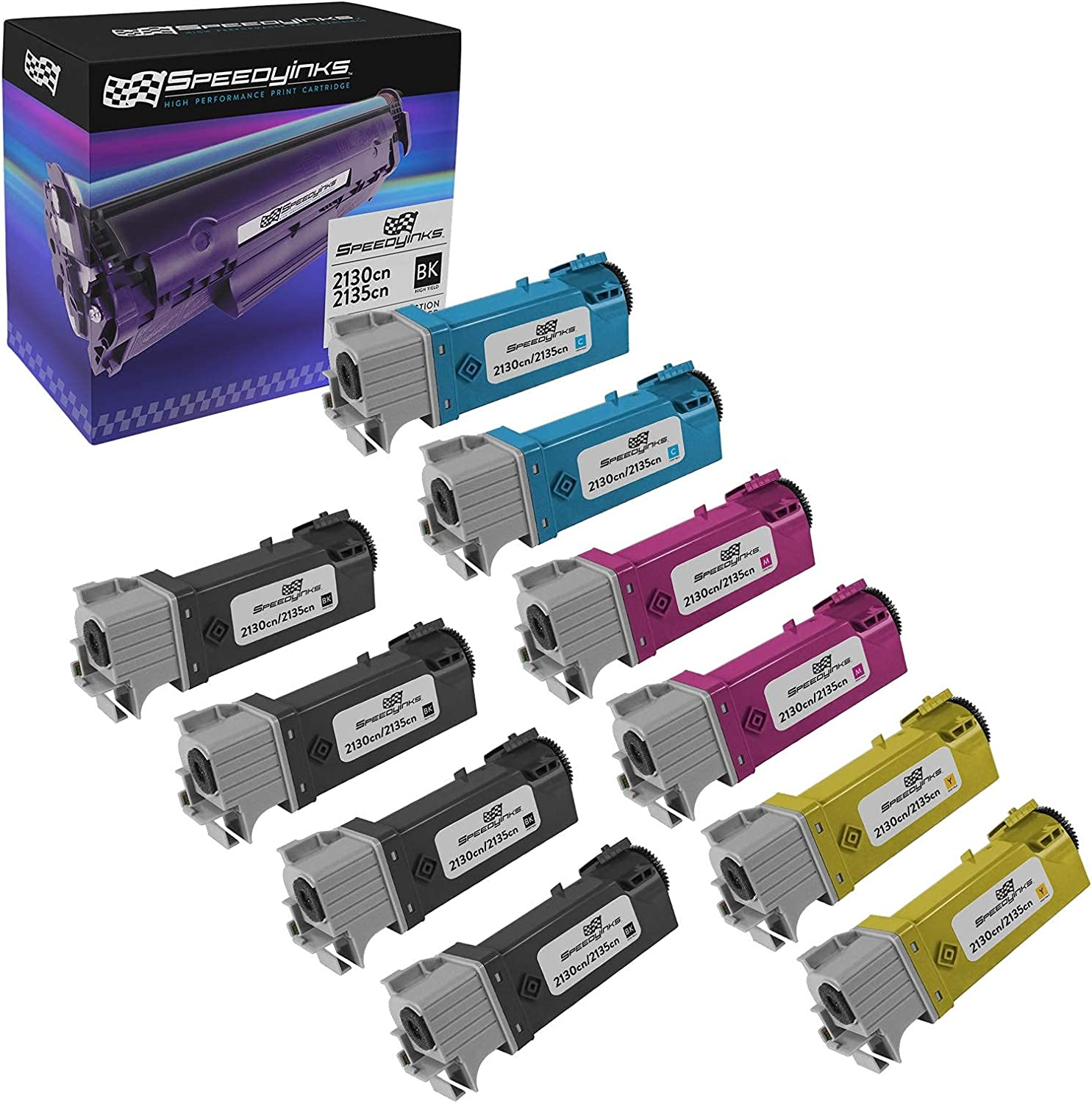Speedy Inks Compatible Toner Cartridge Replacement for Dell 2130cn High-Yield (4 Black, 2 Cyan, 2 Magenta, 2 Yellow, 10-Pack)