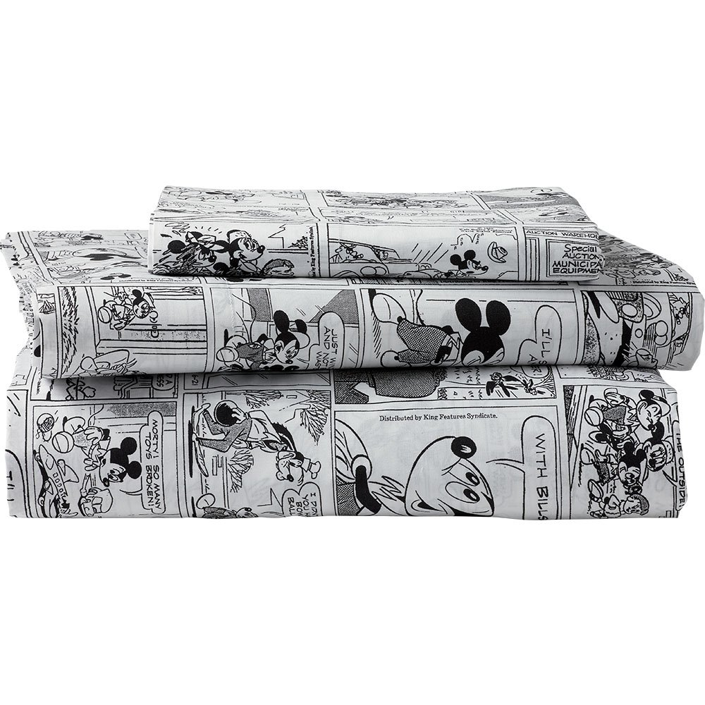 Ethan Allen | Disney Mickey Mouse Comic Strip Sheet Set, Mickey's Ears (Black), Queen by Ethan Allen