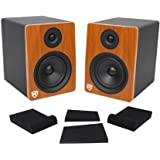 "Pair Rockville APM6C 6.5"" 2-Way 350W Powered USB Studio Monitor Speakers+Pads"