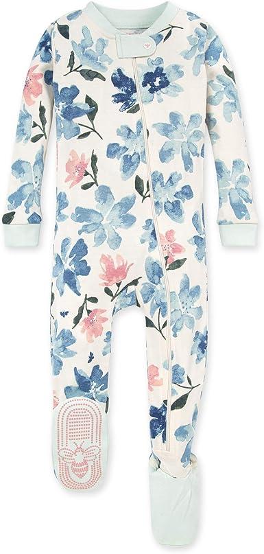 24 Months Zip Front Non-Slip Footed Sleeper PJs Sprinkling Petals 100/% Organic Cotton Burts Bees Baby Baby Girls Pajamas