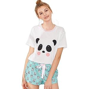 8a38952779 SheIn Women's Tee and Pants Pajamas Set Cartoon Print 2PCS Pjs ...