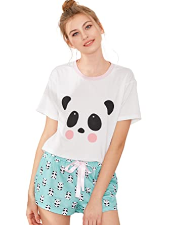 53adbdbb1b SheIn Women's Cute Cartoon Print Pajama Set Tee & Shorts Sleepwear Medium  Green
