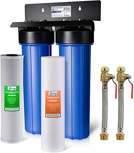 iSpring WGB22B AHPF12MNPT16X2 2-Stage Whole House Water Filtration System Big Blue with 20 x 4.5 Fine Sediment and Carbon Block Filters and 3 4 Push-fit Stainless Steel Hose Connectors