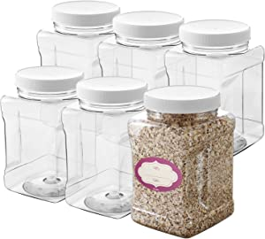 Clear Empty Plastic Storage containers with Lids - Square Plastic Containers - Plastic Jars with Lids – BPA Free Plastic Jar - Food Grade Air Tight with Easy Grip Handles (6 Pack 48 Oz)