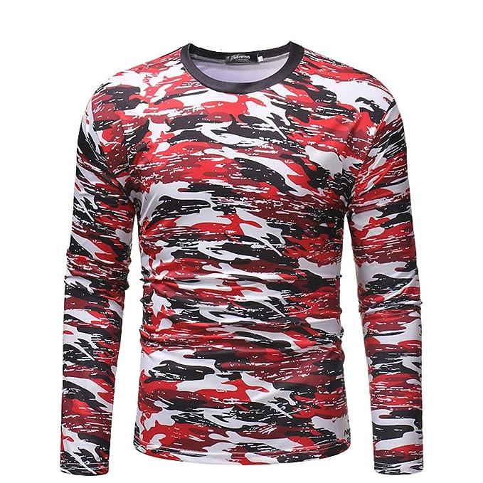 Overdose Camisa Hombre OtoñO Casual Camuflaje Verde Cuello Redondo Manga Larga Sudadera Tops Simple OtoñO Blusa: Amazon.es: Ropa y accesorios