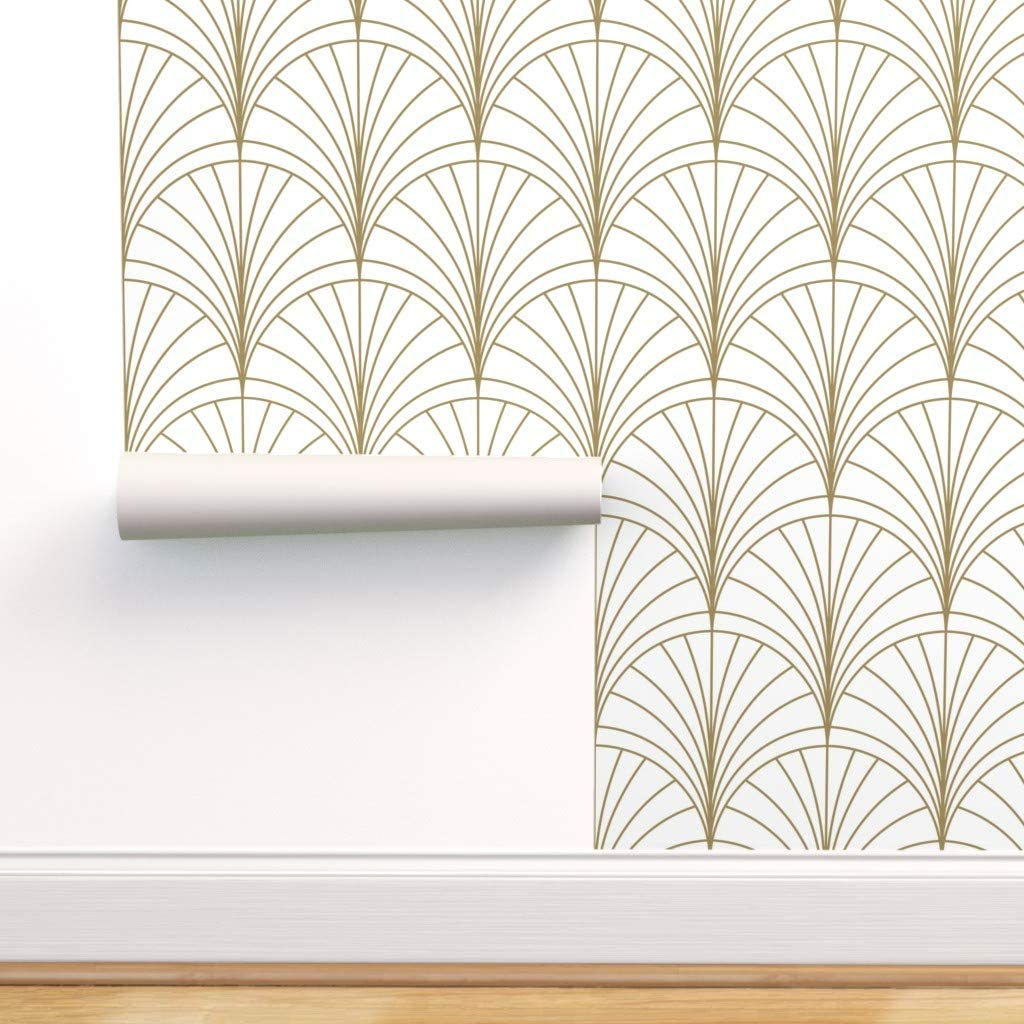 Spoonflower Peel And Stick Removable Wallpaper Art Deco Gold
