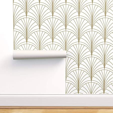 Spoonflower Peel And Stick Removable Wallpaper Art Deco Gold White Floral Burst Nouveau Minimal Vintage Luxury Geometric Print Self Adhesive Wallpaper 12in X 24in Test Swatch Amazon Com