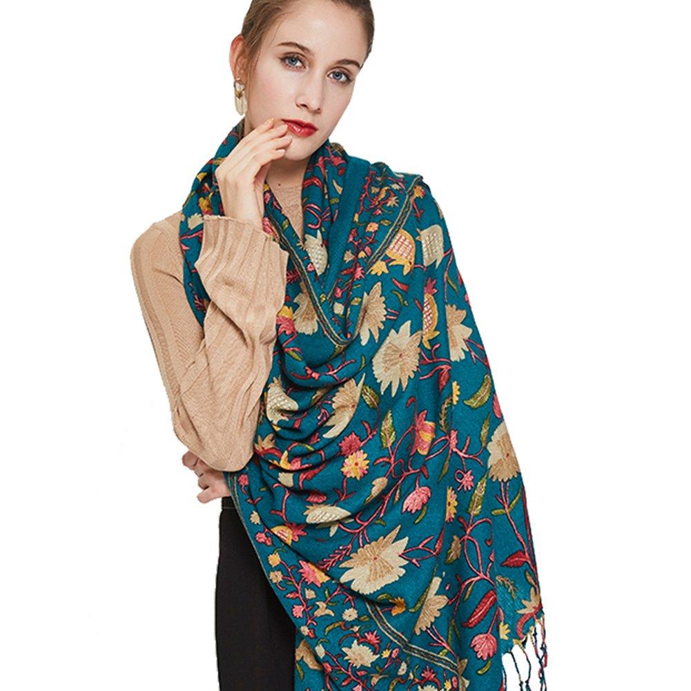 Green Flower DANA XU Pure Wool Ponchos Blanket for Women Large Pashmina Shawls and Wraps (bluee&White)