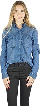 Vero Moda Camisa VMSAMMI Vaquera de Mujer. XL Azul: Amazon.es ...
