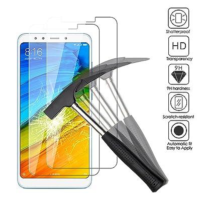 2x Xiaomi Redmi 5 Protectores de Pantalla, EJBOTH Vidrio Templado película Protectora Cristal Transparente invisible Escudo protector 9H definición