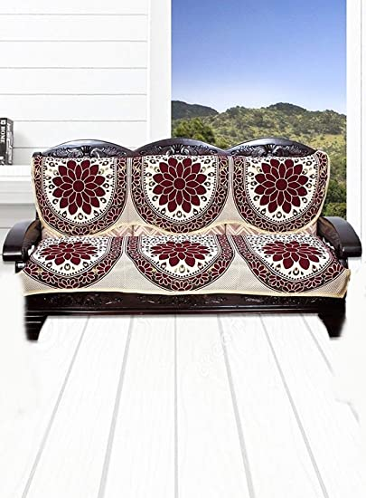 ST DECOR STORE Cotton 3 Seater Sofa Cover (Set of 2)